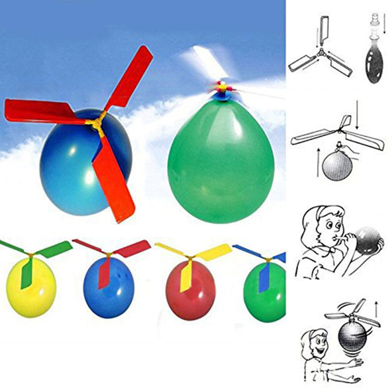 10pcs/Set Classic Balloon Airplane Helicopter For Kids Children Flying Toy Gift Outdoors Toys image
