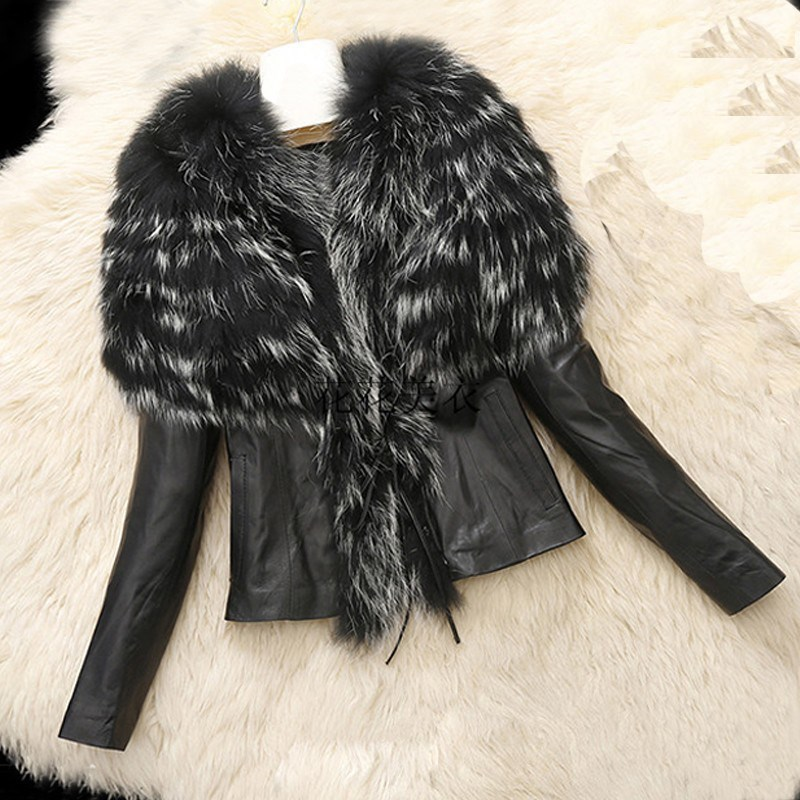 2018 Women Winter Faux   Leather   Jackets Short Fashion Motorcycle Biker Jacket Warm Long Sleeve Fur Collar Jacket Outerwear