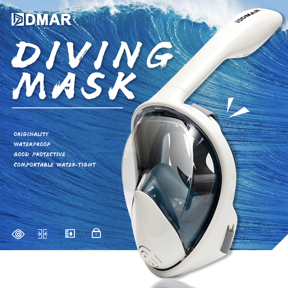 Máscara de natación subacuática Anti niebla buceo máscara panorámica Snorkeling cara completa Snorkel máscara mujeres hombres niños gafas de buceo