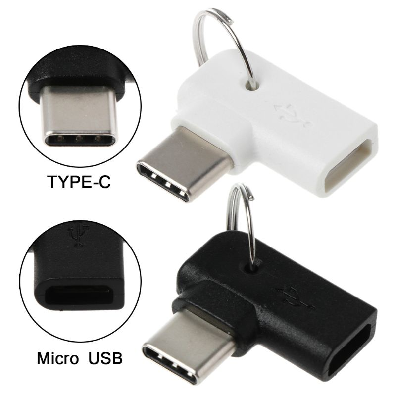 90 Degree Type C Male To Micro USB Female Charging Converter Connector Adapter For Samsung S10 S9 S8 Note 9/8 Huawei Mate 10/20