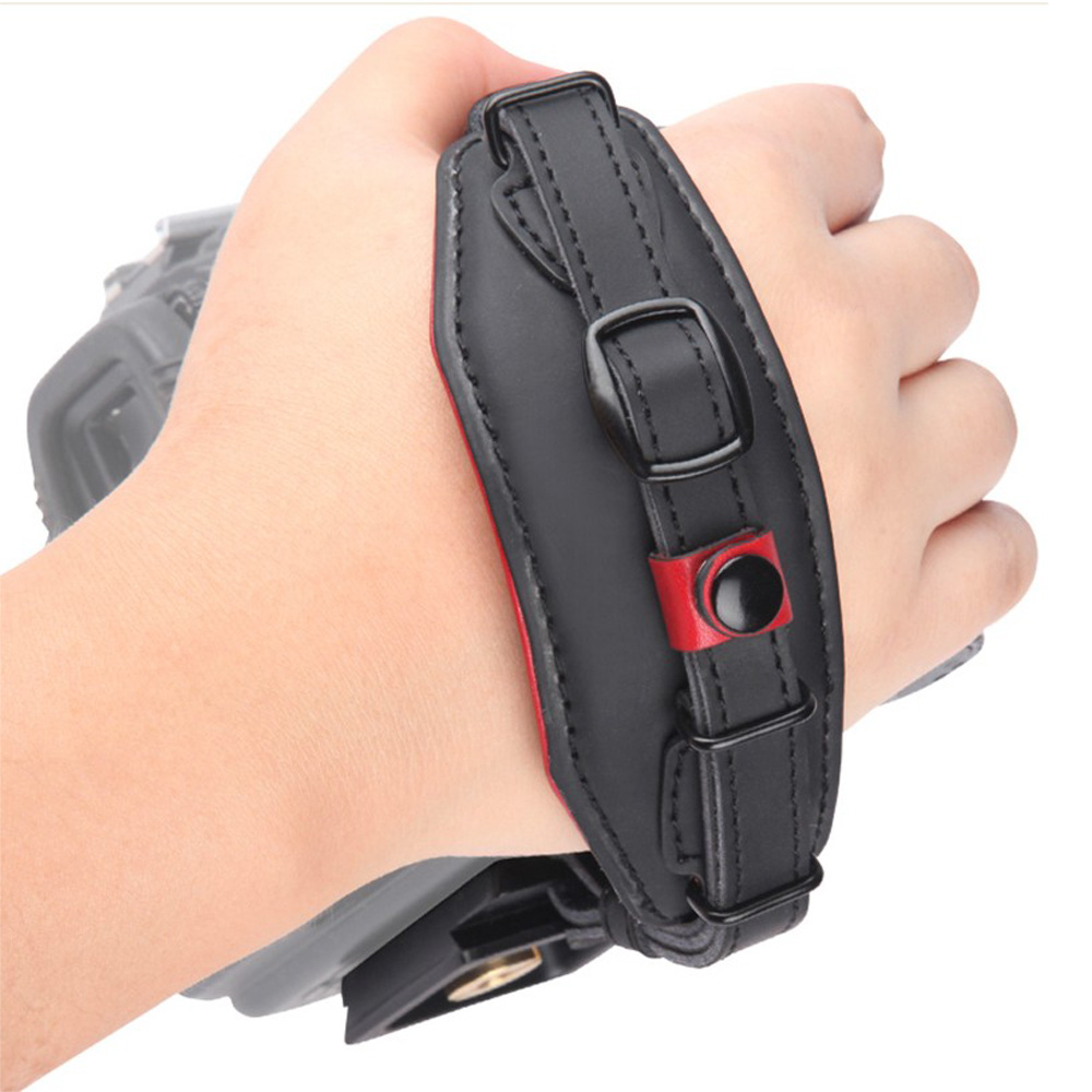 Genuine Leather Hand Strap Belt DSLR Camera Grip Wrist Hand Strap With Metal Quick Release Plate For Canon Nikon Pentax Sony