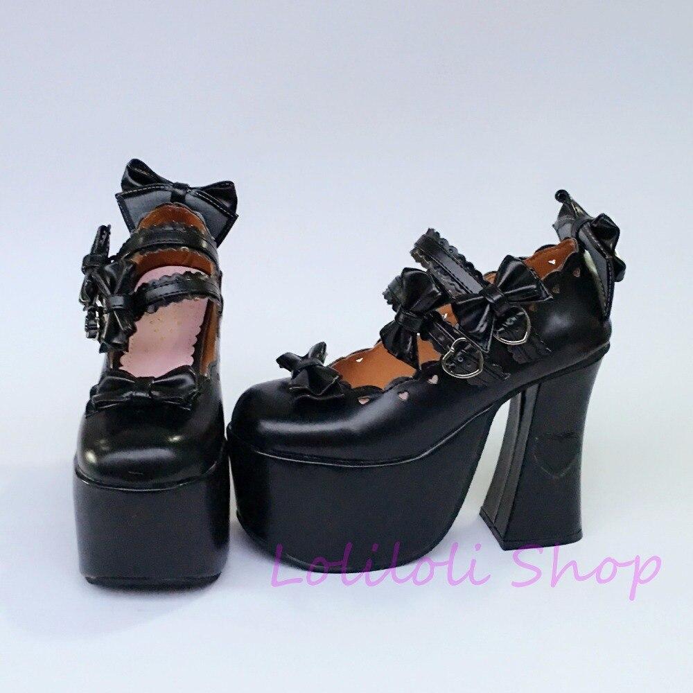 Noir Japonais Loliloli Peau Lumineuse Design Bottes Taille Grande Custom Douce Boucle Yoyo Multi Haute Sangle Lolita Chaussures Princesse 1277a WqSn7PC