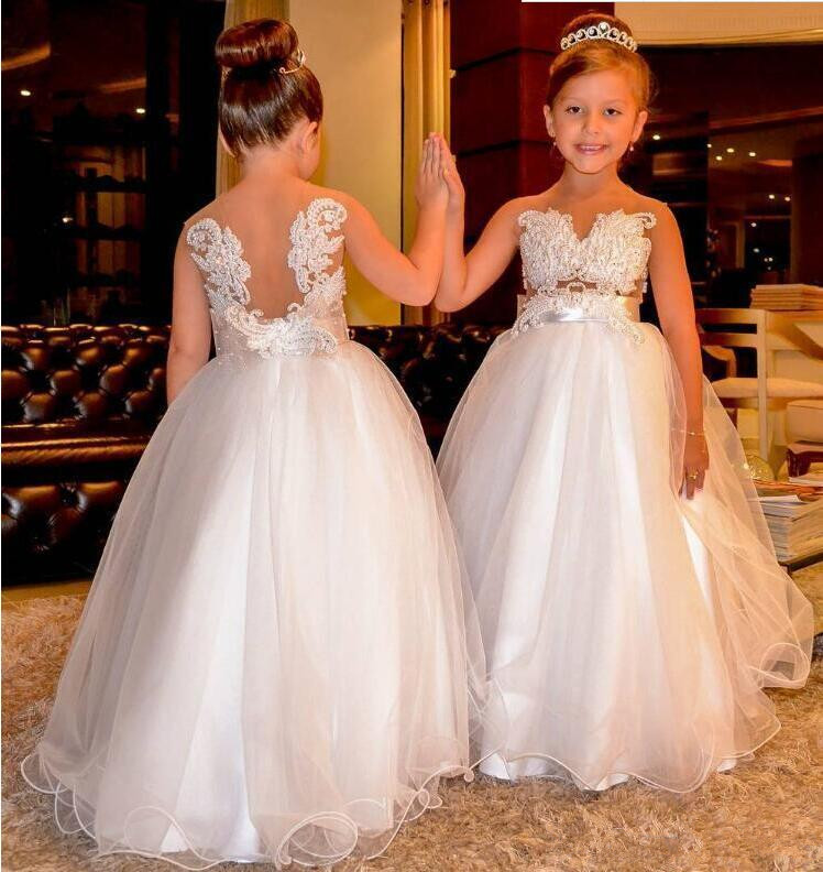 Arabic   Flower     Girl     Dresses   Lace Pearls Backless Tulle Child First Communion   Dress   Kids Vintage Little   Girl   Pageant   Dresses