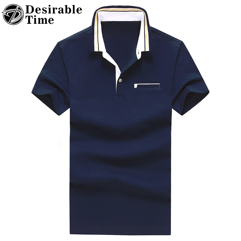 Multi-color Men's Solid Polo Shirt Short Sleeve M-3XL Summer Casual Turn-Down Collar Man Polo Shirts DT495