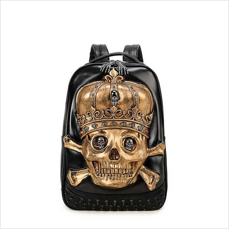 New 3D Skull Laptop Notebook Backpacks for teenagers Cool Men's Backpack Large PU Leather Backpack With Rivet Special mochila кейс для диджейского оборудования thon case for xdj rx notebook