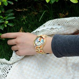 Image 2 - بوبو الطيور ساعة من خشب الخيزران المرأة مصمم الطباعة حركة الكوارتز الخيزران حزام السيدات ساعة اليد B O20
