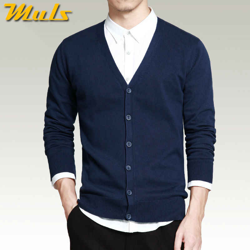6535a6c6a64d Muls Mens sweater cardigans Simple style cotton knitting spring autumn  winter sweater coat male V neck
