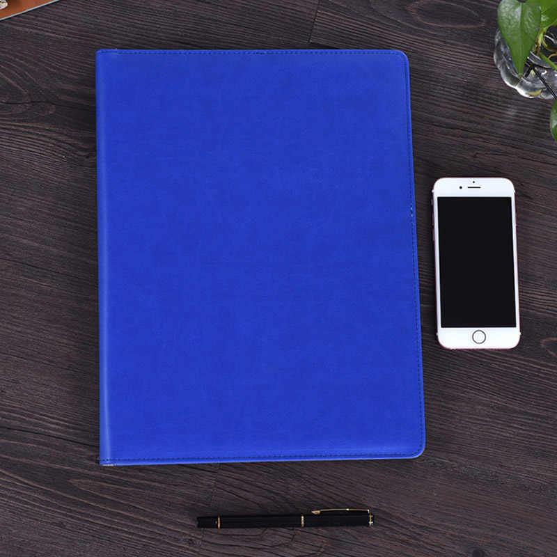 A4 مجلد ملفات دفتر حقيبة مع آلة حاسبة بادفوليو بولي Leather الجلود الموثق مدير منظم وثائق دفتر ملف مشبك اليد