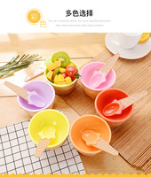 Fashion Ice Cream Bowl With A Spoon For Kids Boys Girls Plastic Dessert Cup Tubs Summer Use Party Supplies Gifts