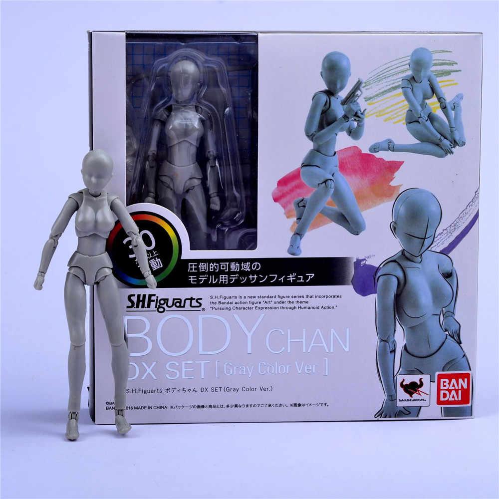 Corps mobile KUN/corps CHAN couleur gris Ver. Figurine de dessin de croquis d'art de bjd de figurines d'action de PVC noir