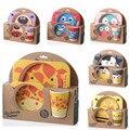 Bebé Niños vajilla Platos Taza Learnning Ayudar Food Bowl + tenedor y Cuchara Conjunto perfecto