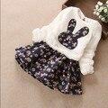 Горячая 2017 Девушки Осень-Зима Цветочные Сращивание Симпатичные Принцесса Ложным 2 Шт. Малышей Платья Трикотажные Цельный Детская Одежда платья G207