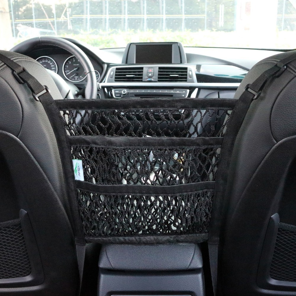 3-Layer Car Mesh Organizer Seat Back Net Bag Barrier of Backseat Pet Kids Cargo Tissue Purse Holder Driver Storage Netting Pouch