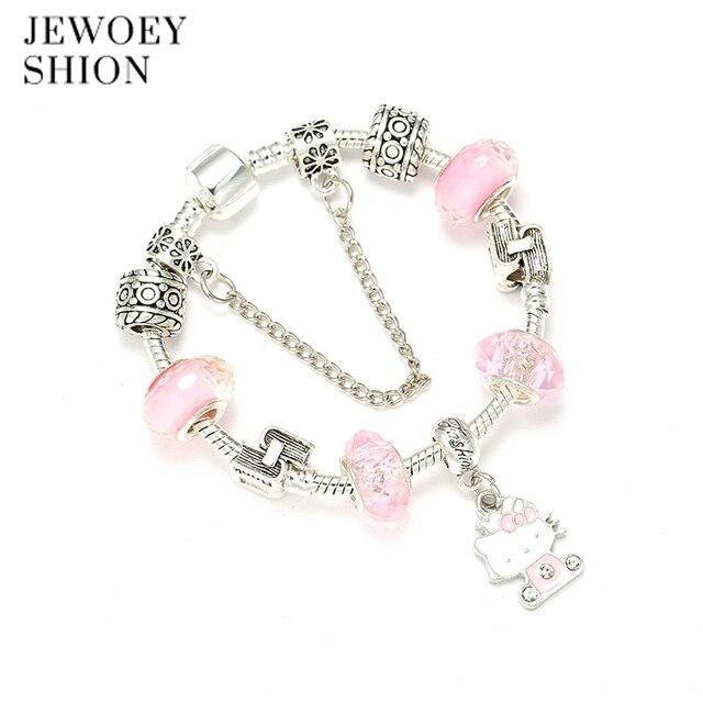 32a26e615 JEWOEY SHION Children Fashion Cartoon Jewelry Cute Hello Kitty Pendant  Crystal Exquisite DIY Pandora Charm Bracelet For Women