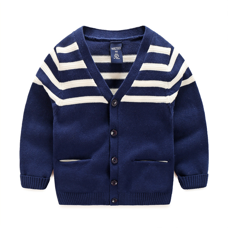 Baby Sweater For Boys Cotton Boys Sweaters With Pockets Long Sleeve Crochet Kids Cardigan Spring Autumn Boys Striped Sweater db4916 dave bella spring fall baby girls navy striped sweater boys navy star embroidery sweaters stylish sweater