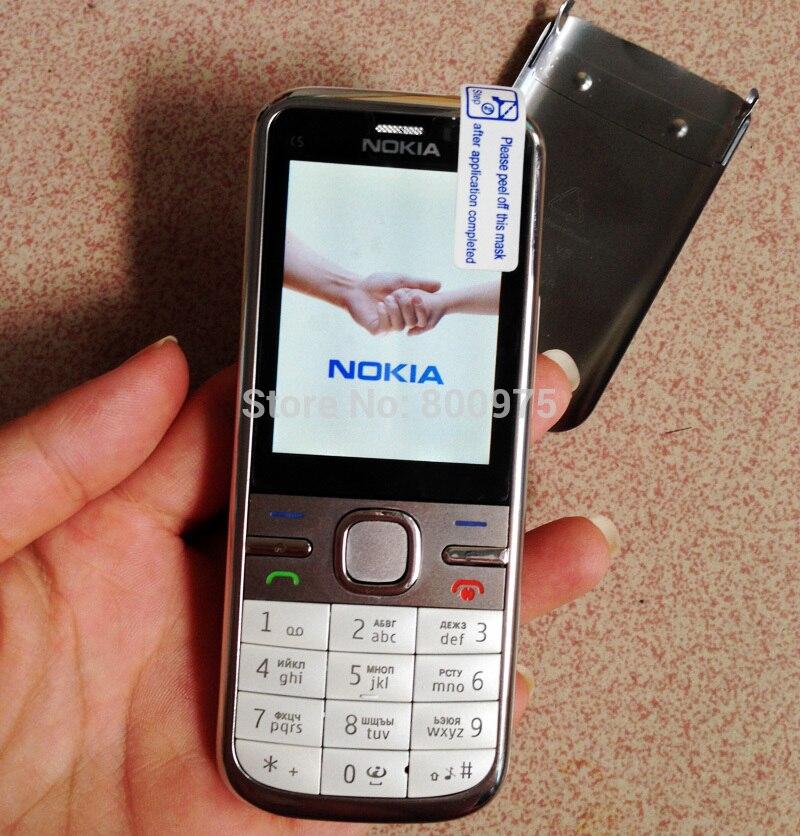NOKIA C5-00 C5 мобильный телефон разблокированный иврит Арабский Русский Клавиатура Восстановленный мобильный телефон