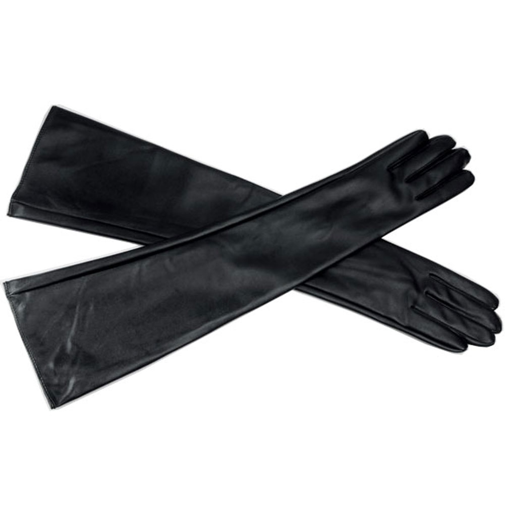 Long black leather gloves prices - Hot Fashion New Women Ladies Winter Opera Evening Party Long Pu Leather Gloves Over Elbow Arm