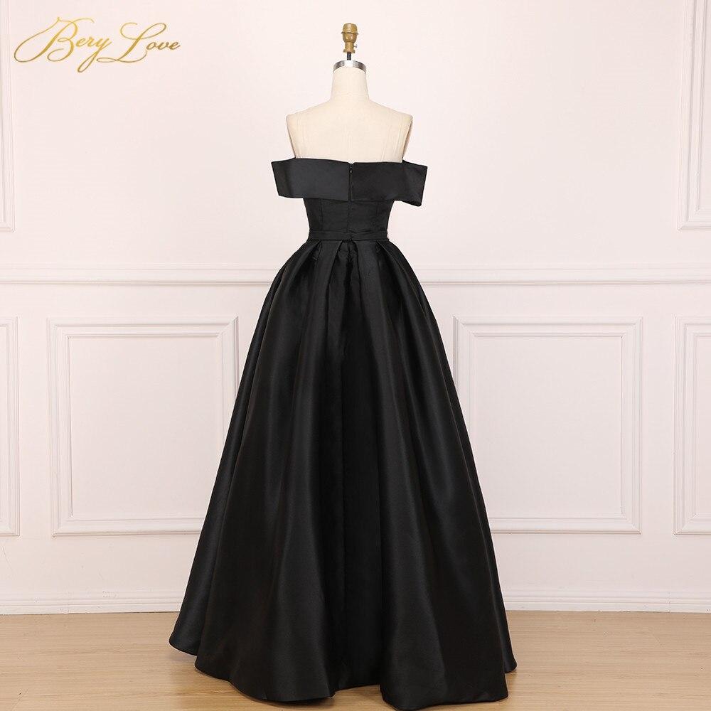 BeryLove élégant épaule dénudée Blush rose robe de soirée 2019 Satin soirée ceinture mode robe de bal fente formelle robe de soirée longue - 5