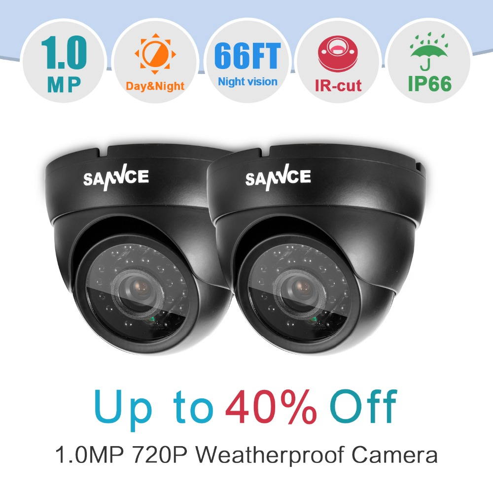 ФОТО SANNCE 2PCS HD 720P 1200TVL CCTV Camera Outdoor Indoor IR Day Night vision 1MP Home CCTV Security Cameras in Surveillance kits