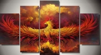 Modern Indoor Decor Framed Phoenix Bird RIsing Print Canvas Decoration 5 Pieces