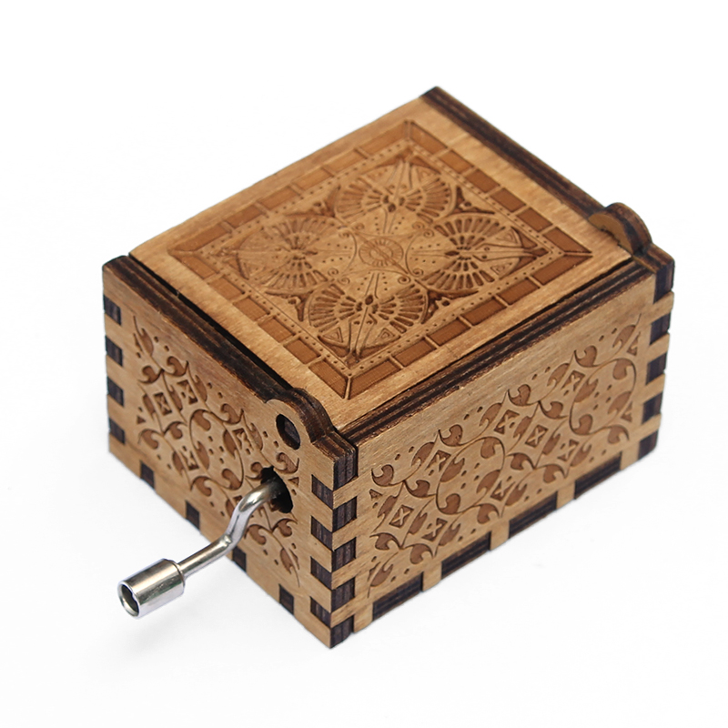 DROPSHIPPING Hand Crank Engraved Wooden Box Play Movie Music Best Toy Gift for Fans Unique Christmas Gift in Music Boxes from Home Garden