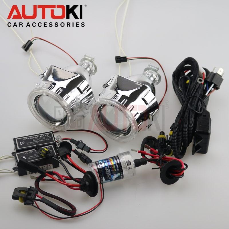 Autoki CCFL 2.5 pouces Mini HID Bi xénon Projecteur Lentille + Xenon Ampoule + CCFL Angel