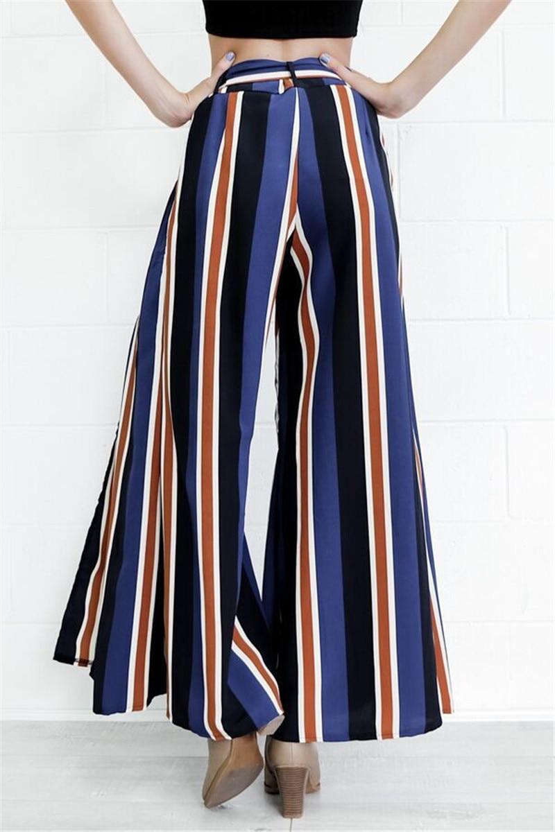2018 Women Fashion Wide Leg   Pants     Capris   Spring Colorful Striped High Split   Pants   Ladies Ankle Length Loose Trousers   Pants