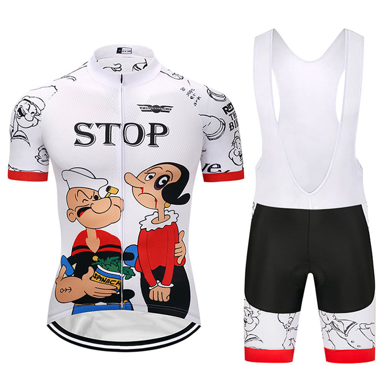 Crossrider 2018 Men Cartoon Cycling Jersey Popeye MTB bicycle Clothing Short Set Ropa Ciclismo Bike Wear Clothes Maillot Culotte