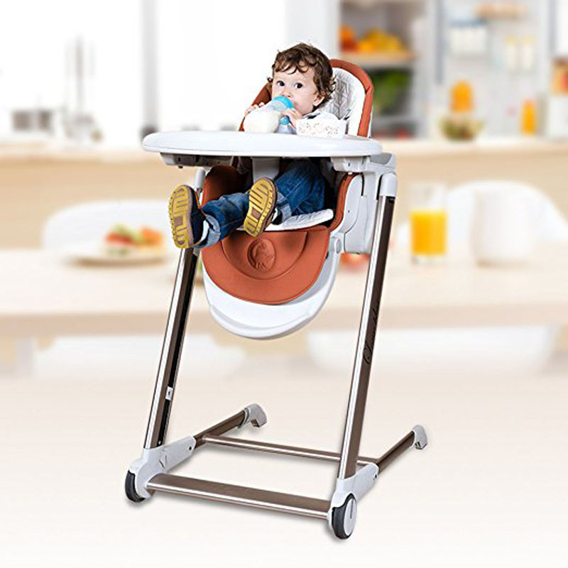 5 in 1 Baby Dining Highchair, aluminum alloy frame baby feed chair, adjust height can sit can lie Baby Booster Seat soft portable baby feed chair gift pillow and rope 4wheels baby booster seat light baby feed chair