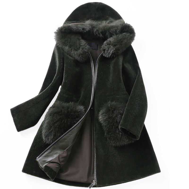 Capuchon De Green Réel À Manteau 2018 Col Femme Chaud Laine Avec Naturelle Fox Dark Manteaux Ayunsue Wyq997 Femmes Vestes D'hiver Veste Fourrure CsQrhdt