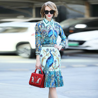 Summer 2018 Women Shirt Skirt Suits Runway Designer Print Blouses High Quality Two Pieces Dresses Suits