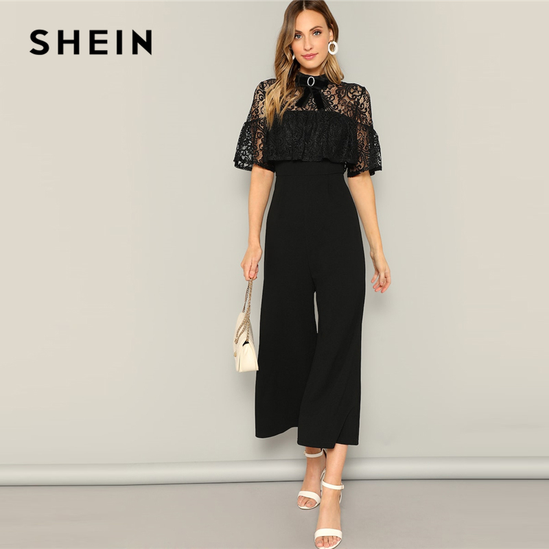 SHEIN Black Bow Detail Lace Insert Palazzo   Jumpsuit   Stand Collar Women High Waist Long Trouser Highstreet Spring   Jumpsuits