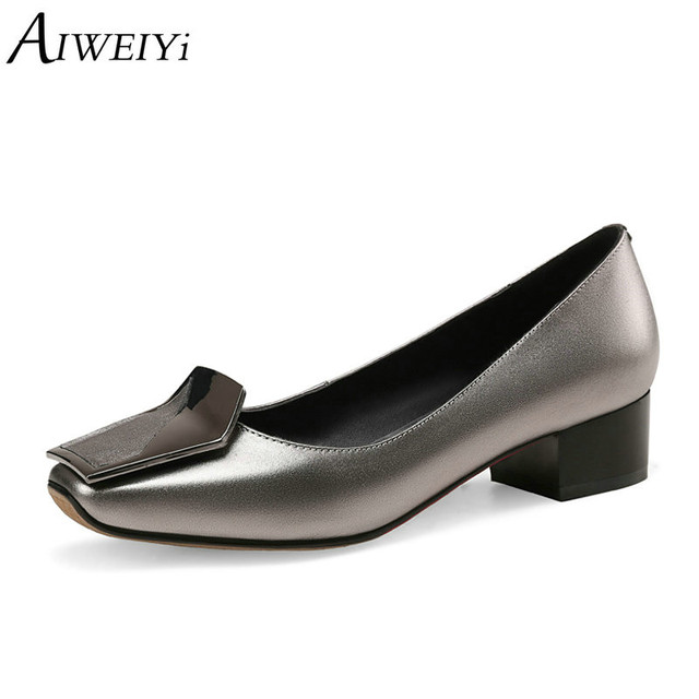 fc4daa542 AIWEIYi Women High Heel Shoes Basic Pumps Lady Genuine Leather Black  Wedding Shoes Pumps Handmade Casual