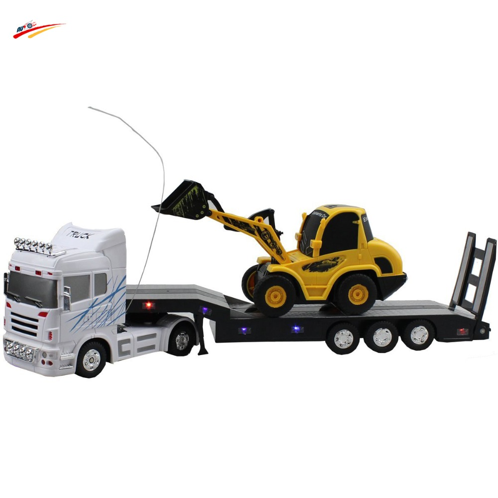 ФОТО RC Car 6 Channel Long Hauler 10 Rubber Tires Vehicle Remote Control Platform Trailer White with RC Bulldozer