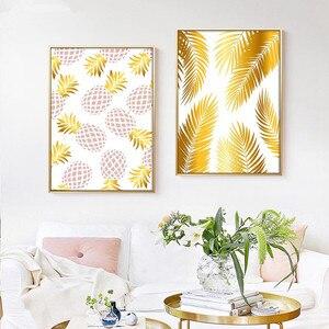 Image 2 - Złoty geometryczny Nordic plakaty i druki ananas owoce płótno malarstwo ścienne obraz sztuki do salonu nowoczesne dekoracje do domu