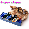 Adult Sex Toy Glass Anal Plugs With Fox Tail Charming Cute Sex Toy Butt Plug Small Size Sex Products