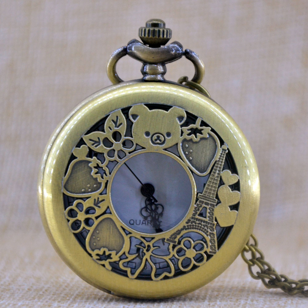 Purposeful Retro Bronze Rilakkuma Paris San-x Quartz Pocket Watch Analog Necklace Pendant Womens Mens Watch Gifts Chain Montre Reloj Yet Not Vulgar Watches