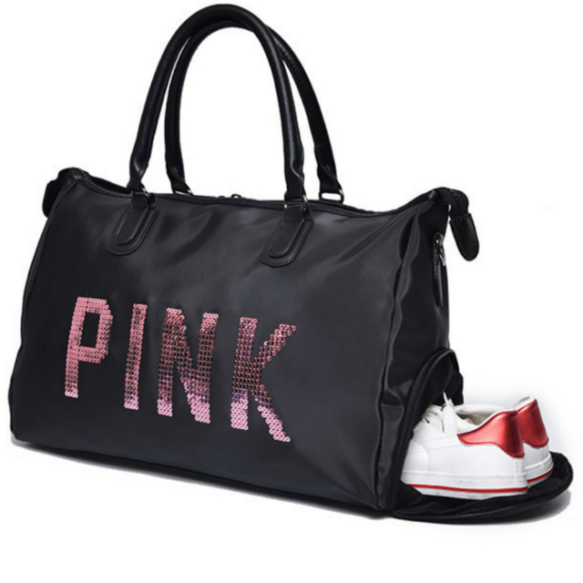 2018 Sequins Gym Fitness Sports Bag Shoulder Crossbody Shoes Bags Women  Tote Handbag Travel Duffel cheap 365072da65
