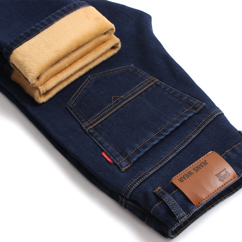 Brand Mens Winter Stretch Thicken Jeans Warm Fleece High Quality Denim Biker Jean Pants Trousers Free shipping 2017 mens winter stretch thicken jeans warm fleece high quality denim biker jean pants brand thick trousers for man size 28 40