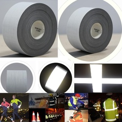 100 Meters Length High visibility Bright silver reflective T/C fabric warning safety fabric reflective tape Garment accessories