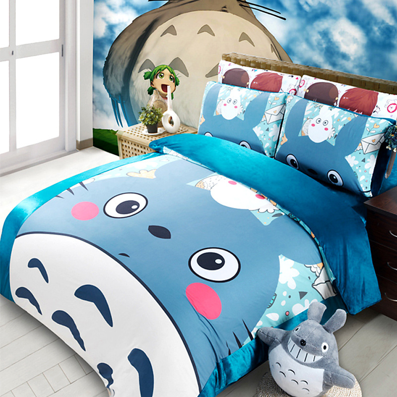 Coral Fleece Thick Bedding Sets 3D Reactive Printing blue lovely Totoro  Beds Bed Sheet Set Duvet Cover 3 4PC Beddings Set-in Bedding Sets from Home    Garden ... 31965a08c