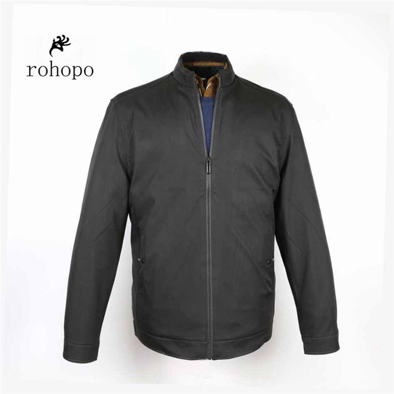 Rohopo 2018 Spring Dark Blue Casual O-neck Polyester Plus Size Brand Jacket,Autumn Business High Quality Cardigan Zipper Outwear