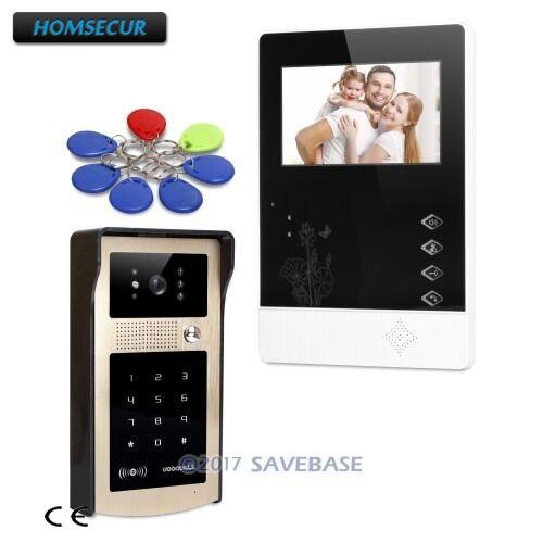 HOMSECUR 4,3 дюйма видео домофонов вызова Системы с открытый мониторинг для дома безопасности