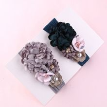 Premium New Soft Nylon Cute Flower Headbands Girls Wide Headwraps Hairwear Children Kids Turban Hair Accessories