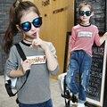 girls t shirts tops kids t -shirt girl clothes tshirt kid shirts cotton children  for 3~14 year 2016 autumn spring fashion MC48