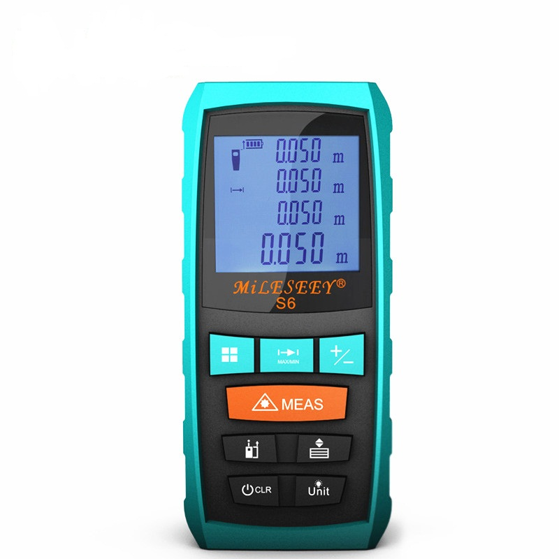 MiLESEEY S6 Laser Distance Measure Handheld 131feet/40m Laser Meter with Backlit LCD Screen Laser Rangefinder 40m 60m 80m 100m mileseey rangefinder s6 40m 60m 80m 100m laser distance meter blue digital range finder area volume laser measuring instrument