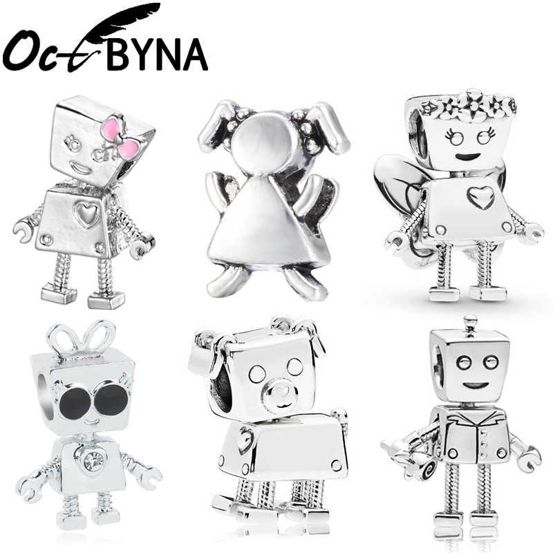 Octbyna ヨーロッパロボット花の妖精 Bella DIY ビーズパンドラチャームブレスレットネックレス女性のための小物作る