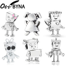 Octbyna European Robot Flower Fairy Bella DIY Bead Fits Pandora Charms Bracelet Necklace For Women Trinket Jewelry Gift Making(China)