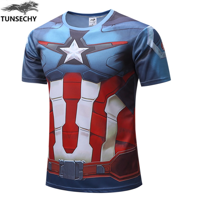 NEW Marvel Super Hero Captain America Batman T shirt Men Armour Base Layer Short Sleeve  ...