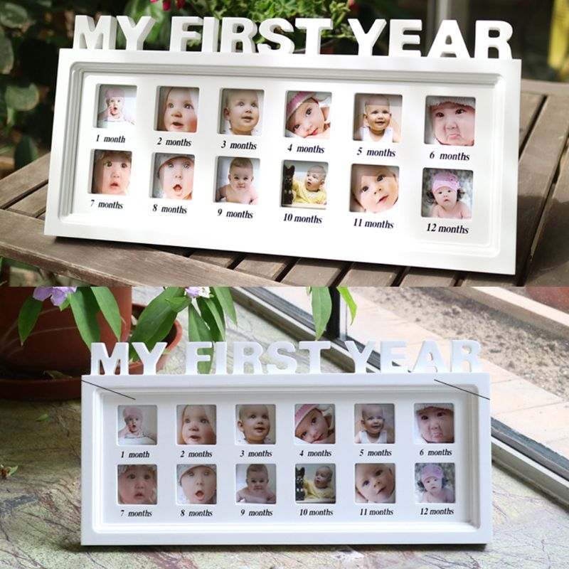 "Купить с кэшбэком Creative DIY 0-12 Month Baby ""MY FIRST YEAR"" Pictures Souvenirs Commemorate Kids Growing Memory Gift Display Plastic Photo Frame"